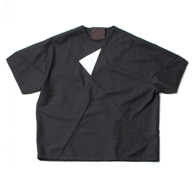 WOOL CLOTH PATCHWORK T-SHIRTS_CHARCOAL