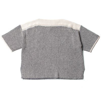 LOOSE KNIT TEE_LIGHT GRAY / DARK GRAY