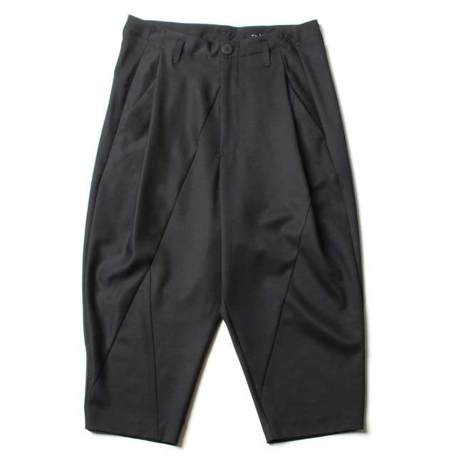 TWILL PATCHWORK CROPPED PANTS_BLACK