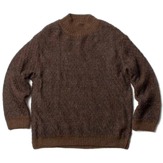 HIGH NECK MOHAIR KNIT_DARK BROWN