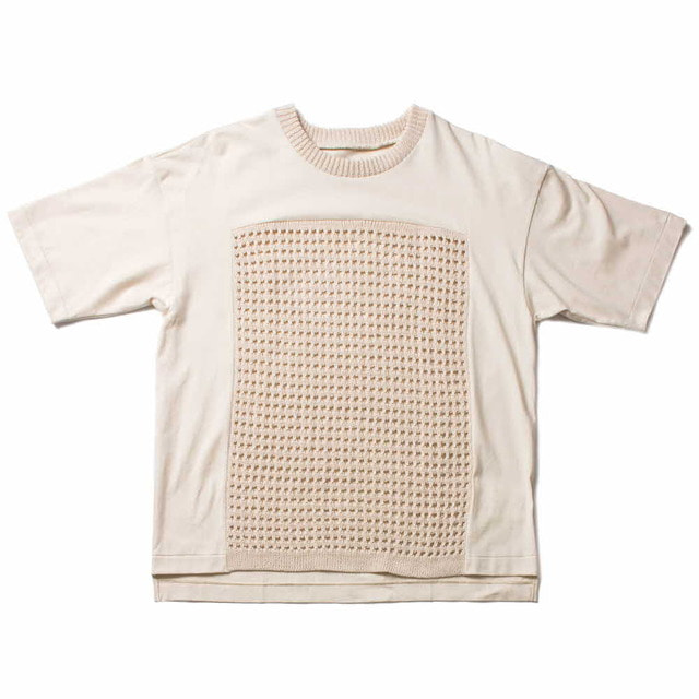 PLAIN STITCH SWITCHING T-SHIRT_IVORY