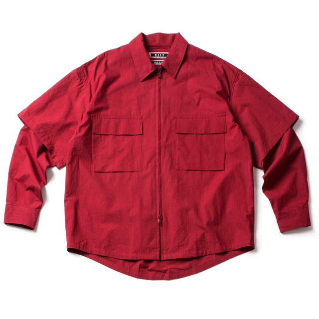 2WAY DETACHABLE SLEEVE ZIP UP BLOUSON_RED