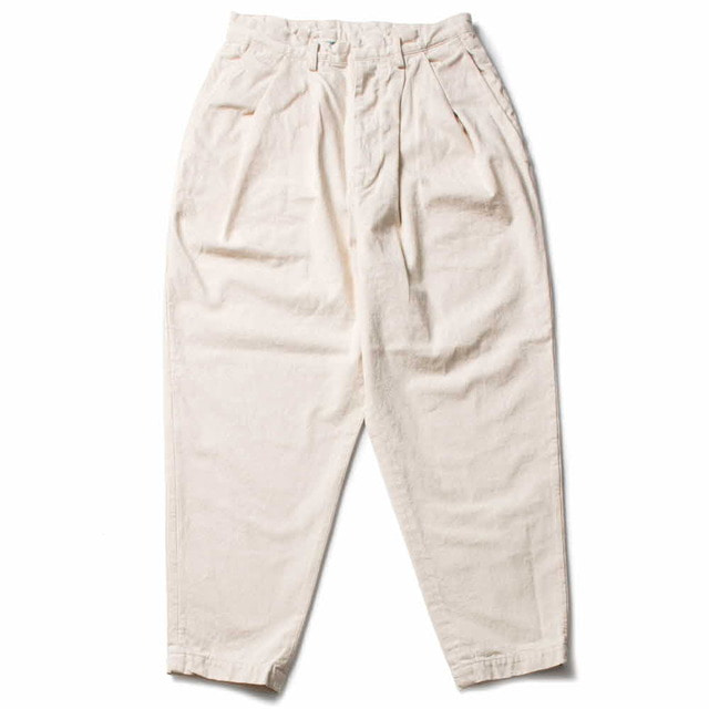 DENIM OVER TUCK PANTS_IVORY