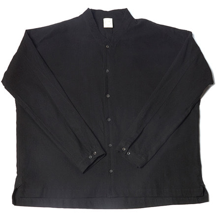 SHRIT#66 - BLACK BRUSHED FLAX/COTTON
