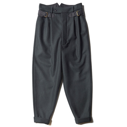 FRONT CHINCH TROUSER _ DARK GREEN / NAVY