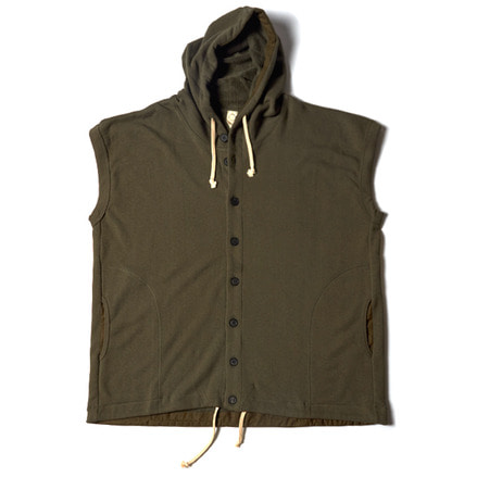 SLEEVELESS HOODED SWEAT _ SWAMP