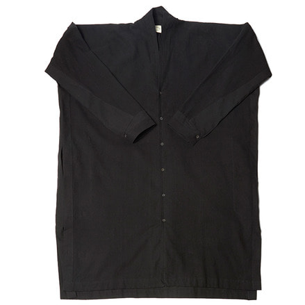 SHIRT#65 - BLACK BRUSHED FLAX/COTTON
