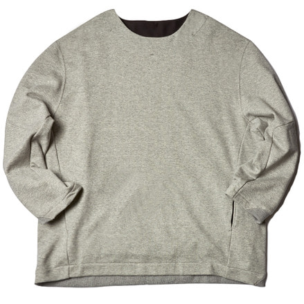 FLEECY KNIT SWITCHING SWEAT - LIGHT GREY