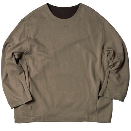 FLEECY KNIT SWITCHING SWEAT - GREY