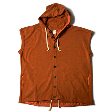 SLEEVELESS HOODED SWEAT _ SAFFRON