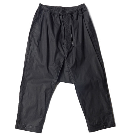 WAXED DROPPED CROTCH PANTS_BLACK