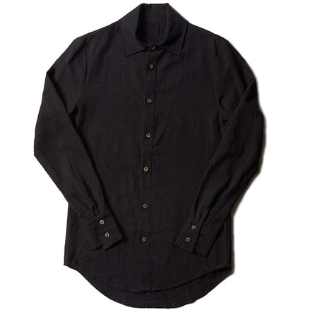 ERLENDUR BUTTON UP LINEN SHIRT_BLACK