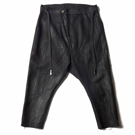 ARI CROPPED DRAWSTRING TROUSERS_BLACK HANDPAINT
