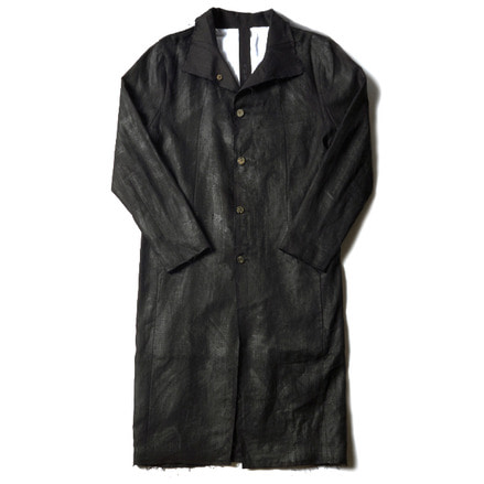 LARUS LONG LINEN COAT_BLACK