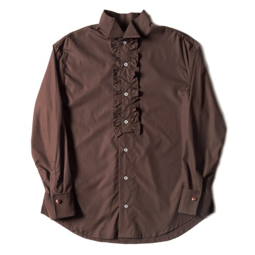 RUFFLE SHIRT_BROWN
