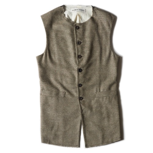 WAISTCOAT_BLACK AND BEIGE STRIPE