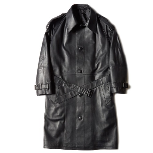 RAGLAN LEATHER COAT_BLACK