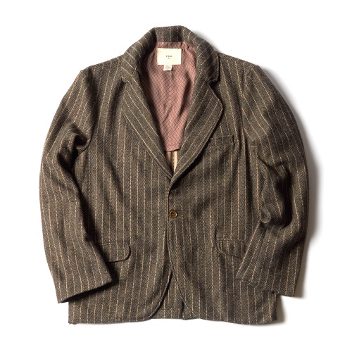 WOOL BLAZER_NEW BROWN STRIPE