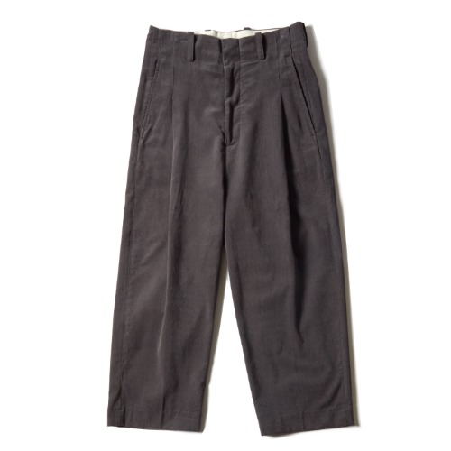 PLEAT PANTS_CORD CHACOAL