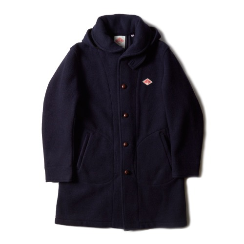 WOOL MOSSER HOODED COAT_NAVY