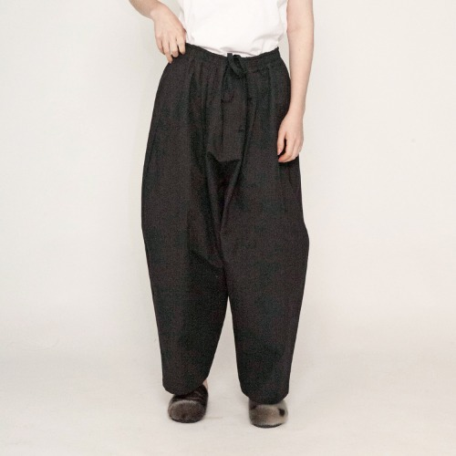 ANTIQUE HORSE CLOTH WIDE EASY PANTS_BLACK