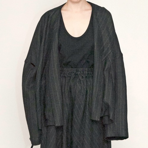 STRIPE LINEN WIDE JACKET_BLACK