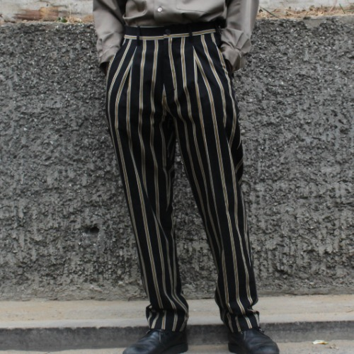 UTILITY TROUSER_TENCEL STRIPE BLACK