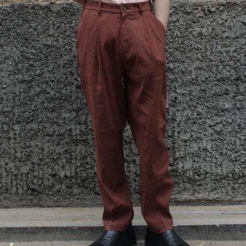 UTILITY TROUSER_STRETCH LINEN BROWN
