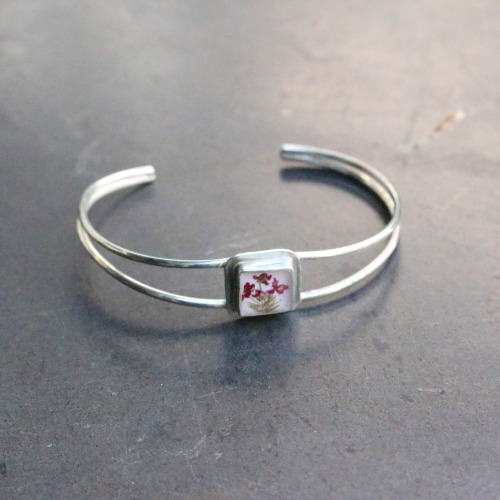 FLOWER EXTRAFINE SQUARE BRACELET_WHITE