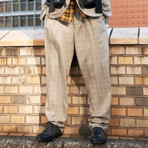 UTILITY TROUSER_GLEN CHECK BEIGE