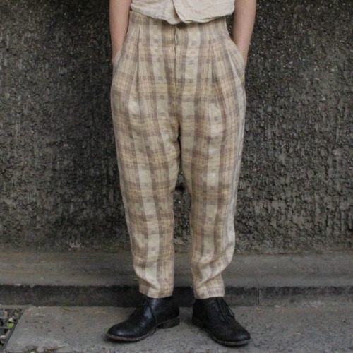 CINCH BACK TROUSERS_CHECK LINEN