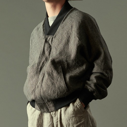 NO COLLAR BLOUSON_HOUND TOOTH