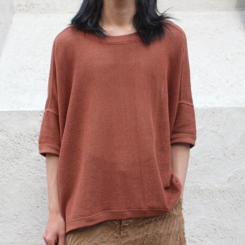 SS MESH WIDE FIT TEE_TABAC