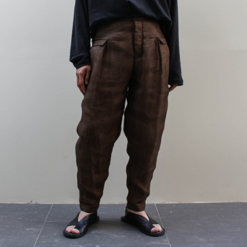 DOUBLE WAISTBAND PANTS_BROWN/SAND
