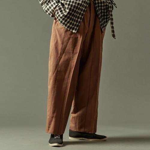 COTTON PLEATS EASY PANTS_STRIPE