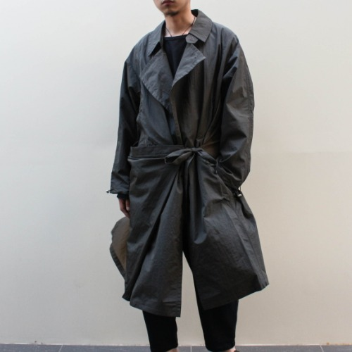 DRAPED TRENCH-A_GREEN/BROWN