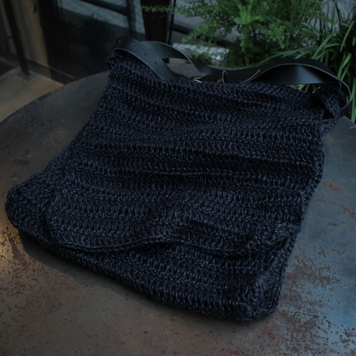 HAND KNITTED JUTE BAG_BLACK