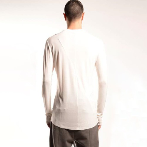 VISCOSE LONG SLEEVE T SHIRT_OFF WHITE