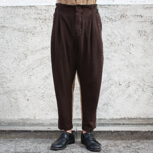SIDE CINCH TROUSERS_BROWN/BEIGE